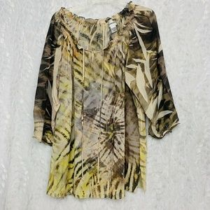 Chicos Semi Sheer Size 3 Tie Dye Blouse 3/4 Sleeve